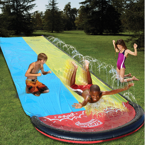 2020 New Inflatable Water Slide 20ft Double Racer Pool Kids Summer Park Backyard Play Fun Outdoor Splash Slip N Slide Wave Rider