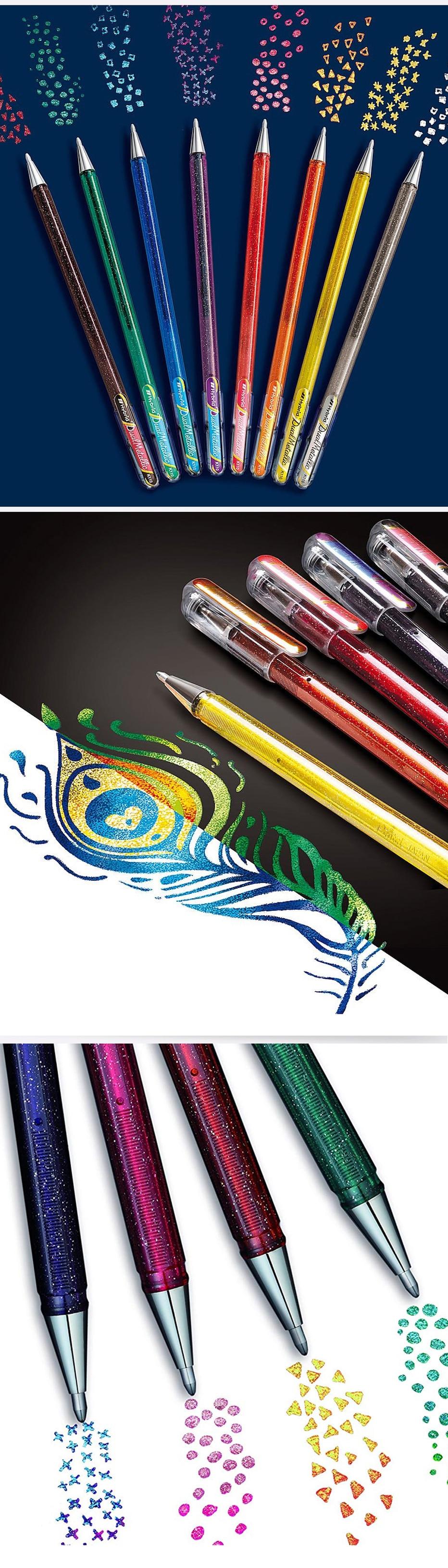 Pentel K110 bolígrafo de gel metálico híbrido de doble violeta + tinta azul Pluma de 4 X 1 2 Colores