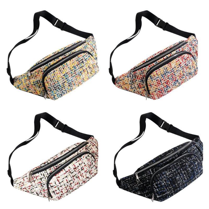 New Fashion Waist Bag Small Fanny Shoulder Belt Bags Women Woolen Zip Phone Pouch Travel Crossbody Pack Leisure Daily Shopping
