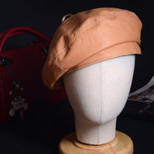 Women's Ladies 100% Real Leather Soft Lambskin Vegetable tanning leather Beret R