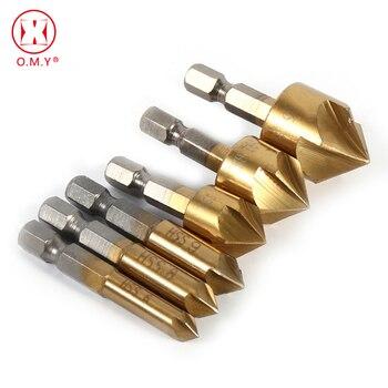"""OMY 5 flauta chaflán Countersink 1/4 """"caña hexagonal hss 90 grados de madera cortador de chaflanado chaflán 6mm-19mm avellane Taladro"""