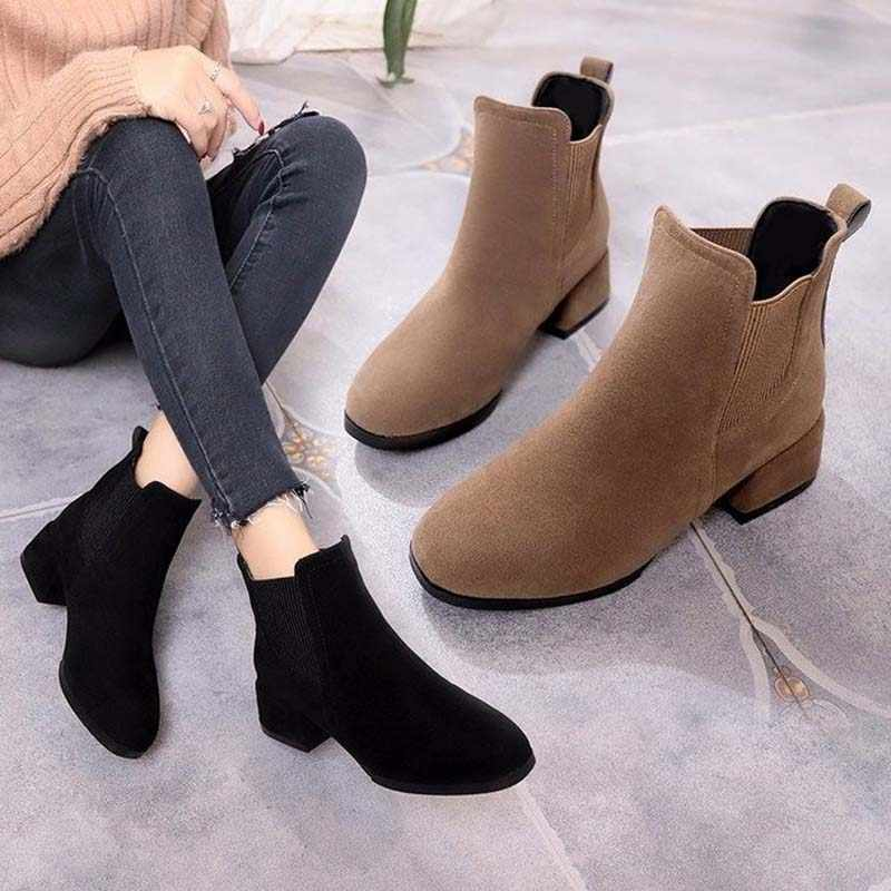 Women Autumn Winter Flock Ankle Boots Slip-on Round Toe 3.5cm Square Heel Solid Casual Black/Camel Booties Size 35-43