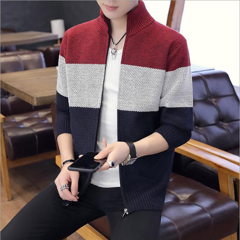 Men Sweater Coat Jackets Thick Plus Velvet Stand Collar Sweater Autumn Winter Jacket Coat Men Streetwear M-3XL