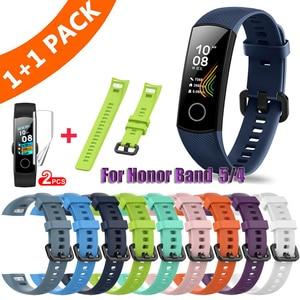 Image 1 - Pulseira de silicone para huawei honor band 4, cinta de relógio de silicone para huawei honor band 5, pulseira com película protetora