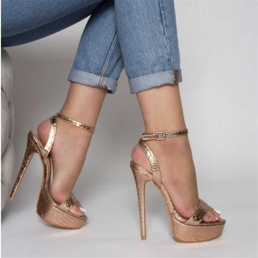 Sandales de luxe à lanières pour femmes chaussures à talons hauts de 17cmet 6cm escarpins dorés brillants et Sexy pour soirée et bal été 2020