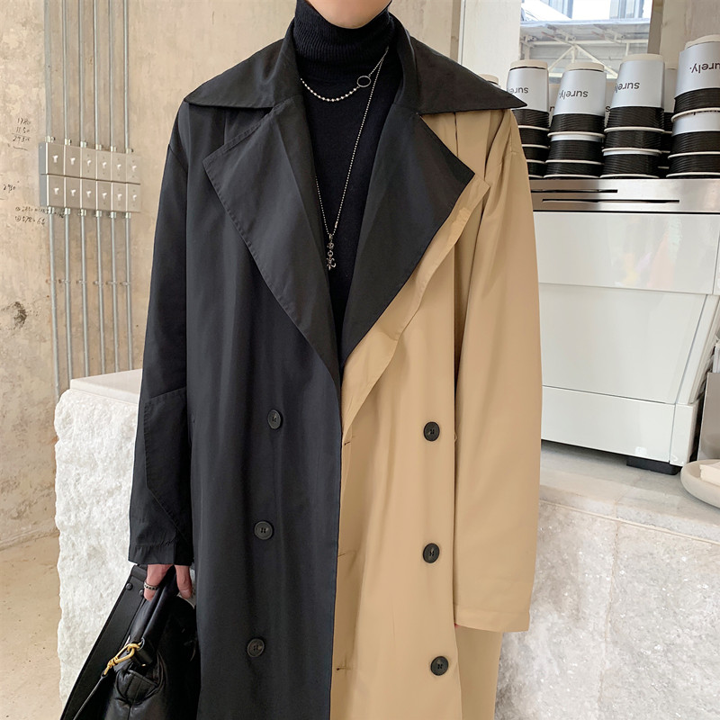 Male Streetwear Vintage Fashion Trench Coat Overcoat Outerwear Men Double Breasted Loose Business Casual Long Windbreaker Jacket