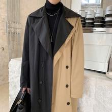 Male Streetwear Vintage Fashion Trench Coat Overcoat Outerwear Men Double Breast
