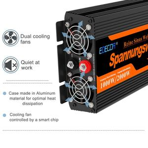 Image 3 - EDECOA  DC 12V to AC 220V 1000w peak 2000w pure sine wave power inverter with remote control and USB 5V 2.1A