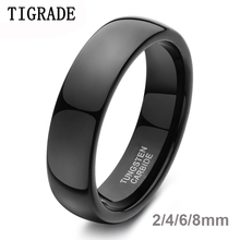 6mm Black Mens High Polished Tungsten Carbide Wedding Ring Engagement Jewelry Band