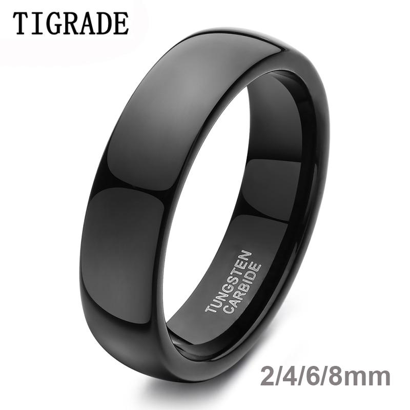 TIGRADE 2/4/6/8mm anillo negro de carburo de tungsteno alto pulido anillo de compromiso anillo de grabado joyería para mujeres Unisex