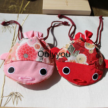 Latest Embroidery Fish Cloth Big Jewelry Bag Drawstring Packaging Christmas Gift Bags Japanese style Cute Coin Bag Storage Pouch