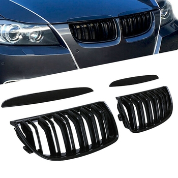 Front Kidney Grille Hood Grills -Double Line for BMW E90 323I 328I 335I 330I 325I 3-Series 2005-2008 (Gloss Black) image