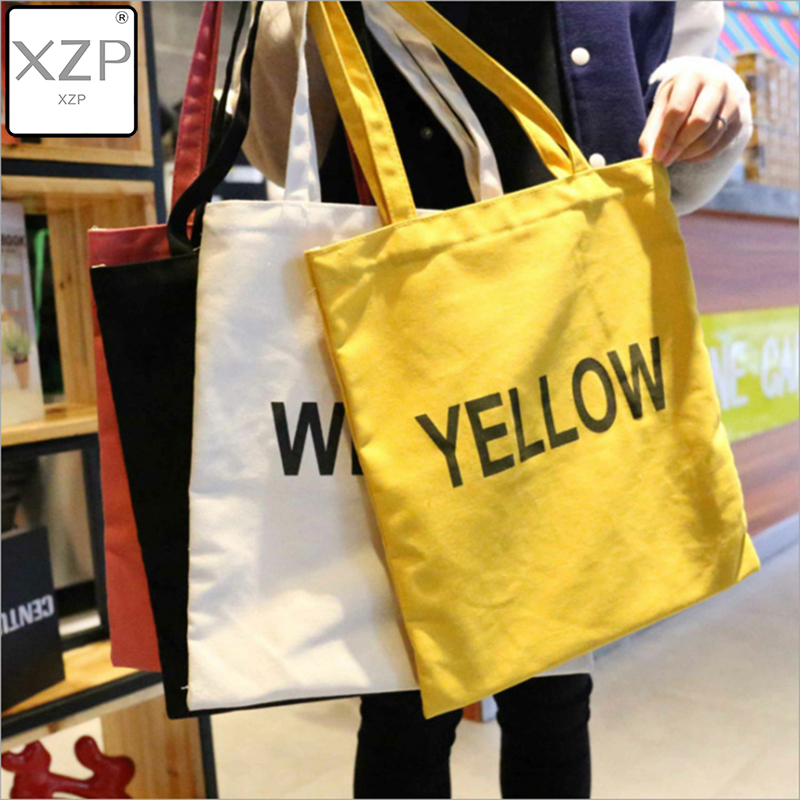 XZP Women Canvas Tote Bag Fashion Shoulder Bag Concise Letter Printing Shoulder Cloth Bags Ladies Duty Cotton Shopping Bags