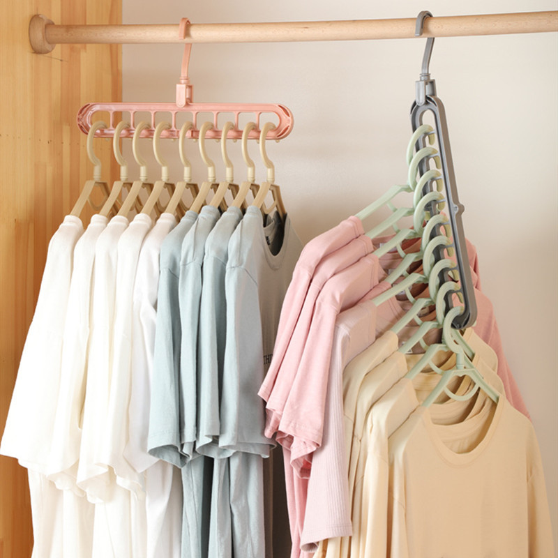 Foldable 9-hole Space Saving Hanger 360 Rotating  Hanger Multi-function Folding Drying For Clothes Layer Storage Racks Wardrobe