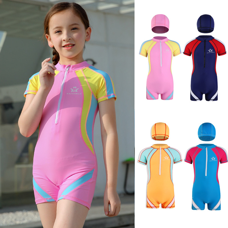 New Style KID'S Swimwear Men And Women Children Casual Sports Children Men And Women Baby Students One-piece Training Tour Bathi