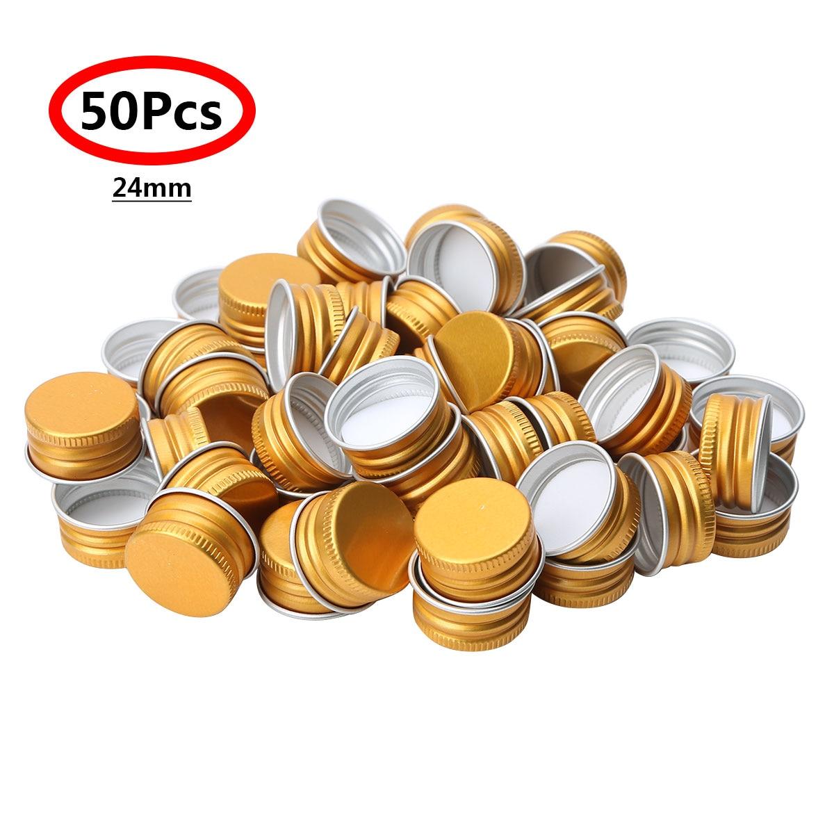 50Pcs Mini Small Caps Premium Aluminium Threaded Caps Lids Replacements for Mason Jar Borosilicate Glass Bottles