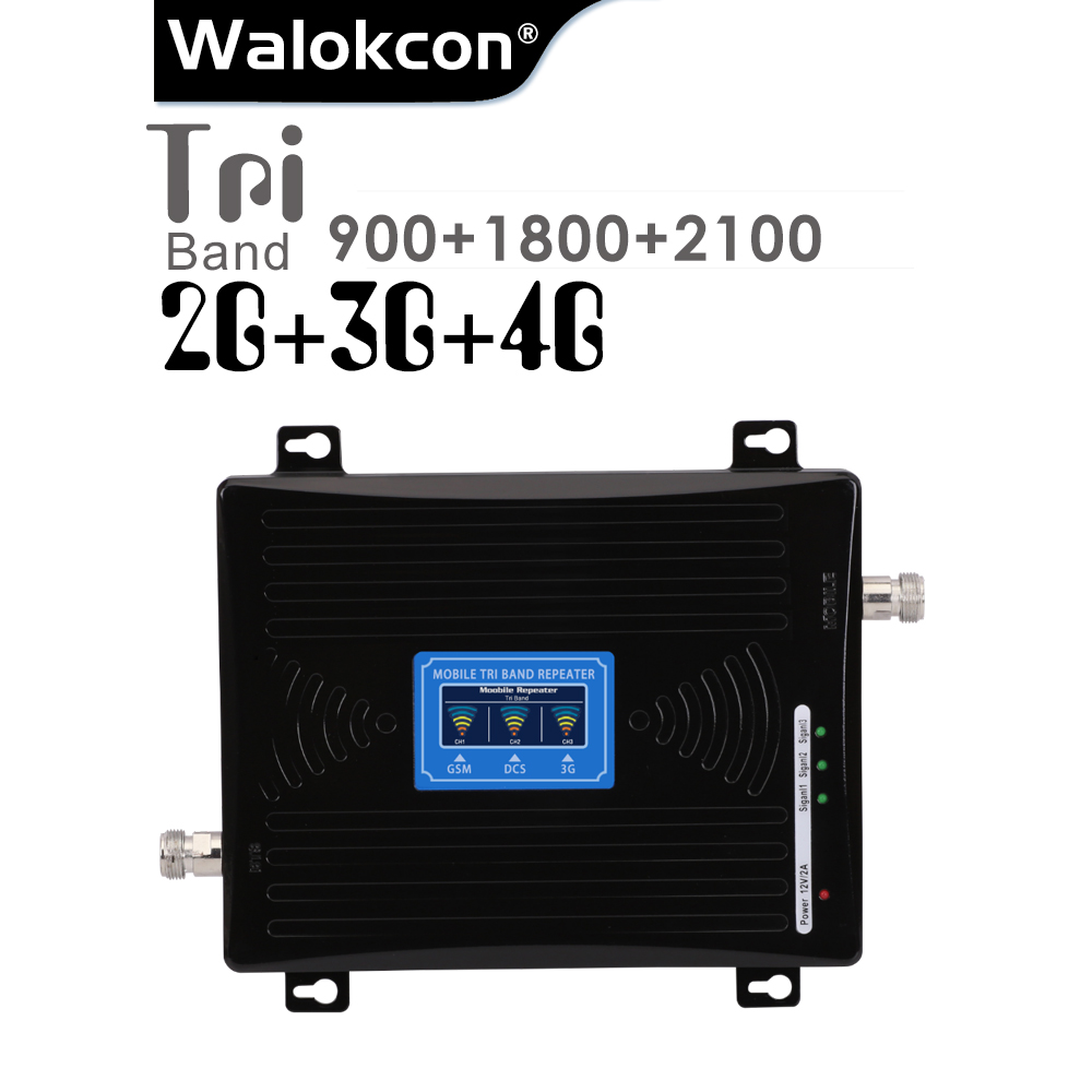 Black 900/1800/2100 Cellular Amplifier <font><b>2G</b></font> GSM 3G WCDMA 4G DCS 900 1800 2100 MHz Signal <font><b>Repeater</b></font> 4G LTE Booster With LCD Display image