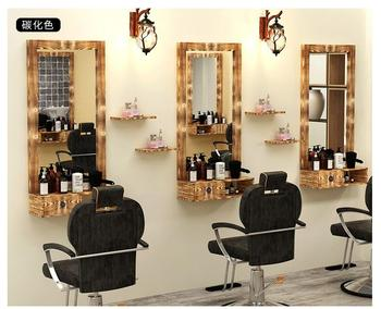 Barber's Dressing Table Mirror Solid Wood Retro Dressing Table Single Side Low Clearance Wall Hanging Hair Salon Special Salon M