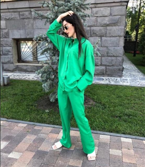 Za 2021 Green High Waist Pants Women Adjustable Elastic Drawstring Waist Vintage Trousers Woman Casual Summer Wide Leg Pants 5