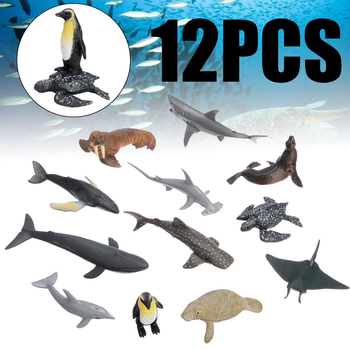 12pcs Ocean Sea Life Simulation Animal Model Sets Shark Whale Turtle Crab Dolphin Action Toy Figures Kids Educational Toys