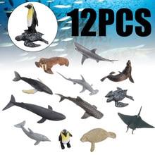 12 шт., Океаническая и морская жизнь, симуляция, комплекты моделей животных, Акула, Кит, черепаха, краб, дельфин, игрушка, фигурки, детские разв...