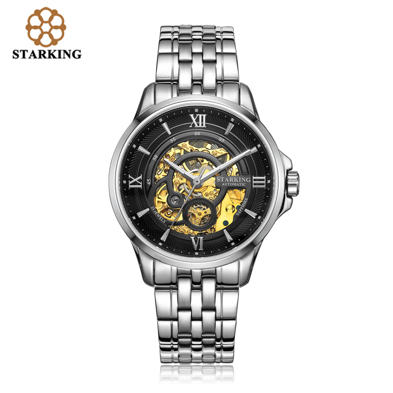 <font><b>STARKING</b></font> Men Skeleton <font><b>Automatic</b></font> Mechanical Watch Luxury Famous Brand Stainless Steel <font><b>Sapphire</b></font> Black WristWatch relogio masculino image