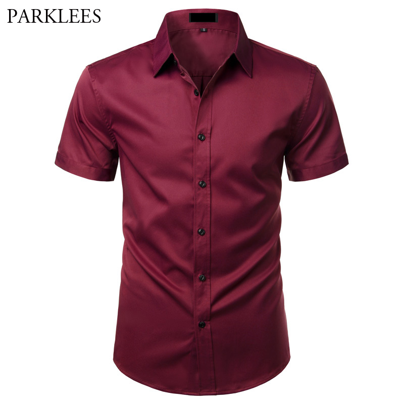 Wine Red Elastic Bamboo Fiber Shirt Men Summer Short Sleeve Mens Dress Shirts Non Iron Easy Care Business Work Chemise Homme XXL
