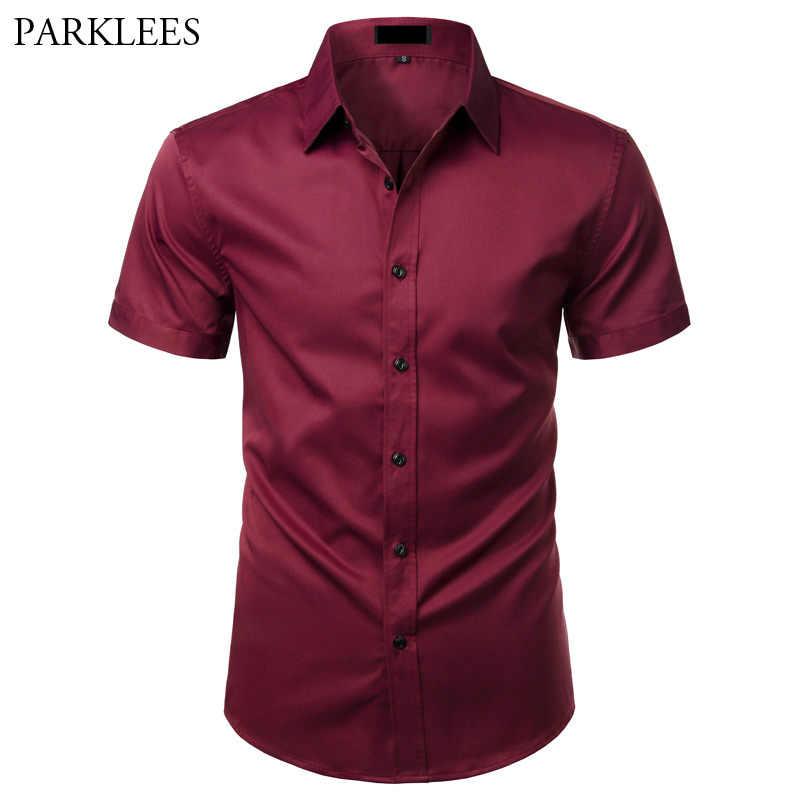 Wine Red Elastic Bamboo Fiber Shirt Men Summer Short Sleeve Mens Dress Shirts Non Iron Easy Care Business Work Chemise Homme XXL