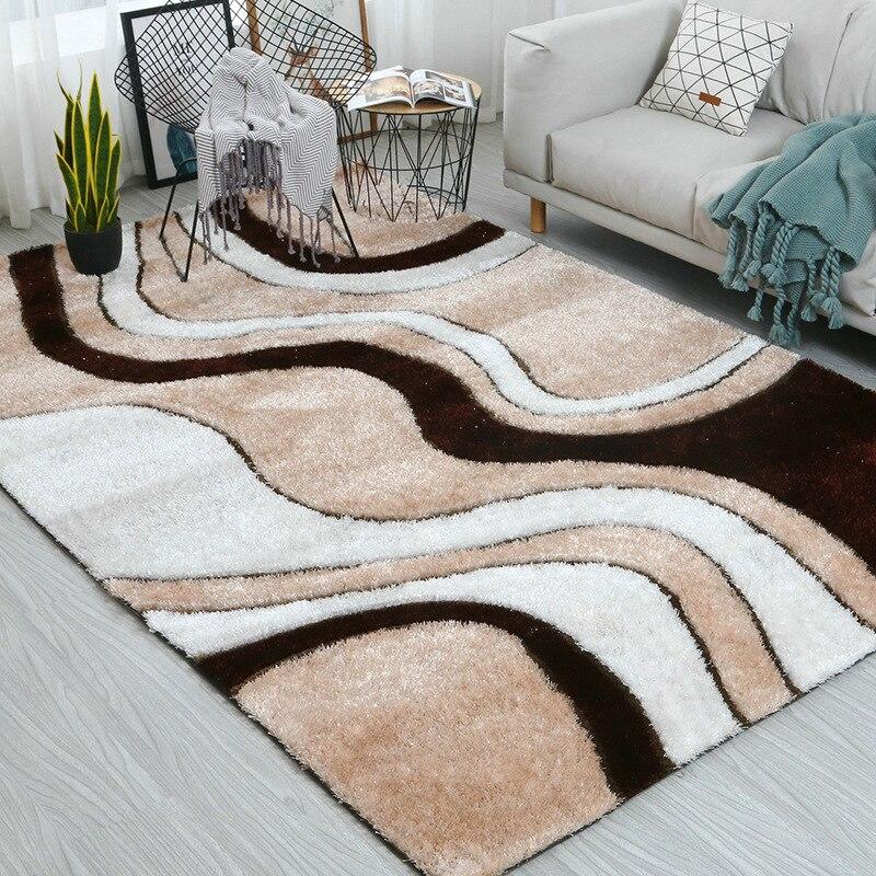 Coréen soie plus épais chambre tapis et tapis pour la maison salon Alfombra Table basse tapis doux 3D moderne tapis tapis de sol décor