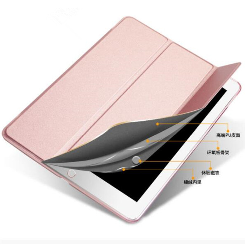 generation Translucent PC Case Leather Slim iPad Back Trifold 2019 for 7th Smart 10.2