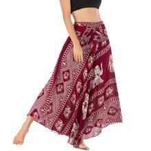 Beach Ethnic Style Swing Skirt Women Long Hippie Bohemian Gypsy Boho Flowers Elastic Waist Floral Halter best selling 9.6