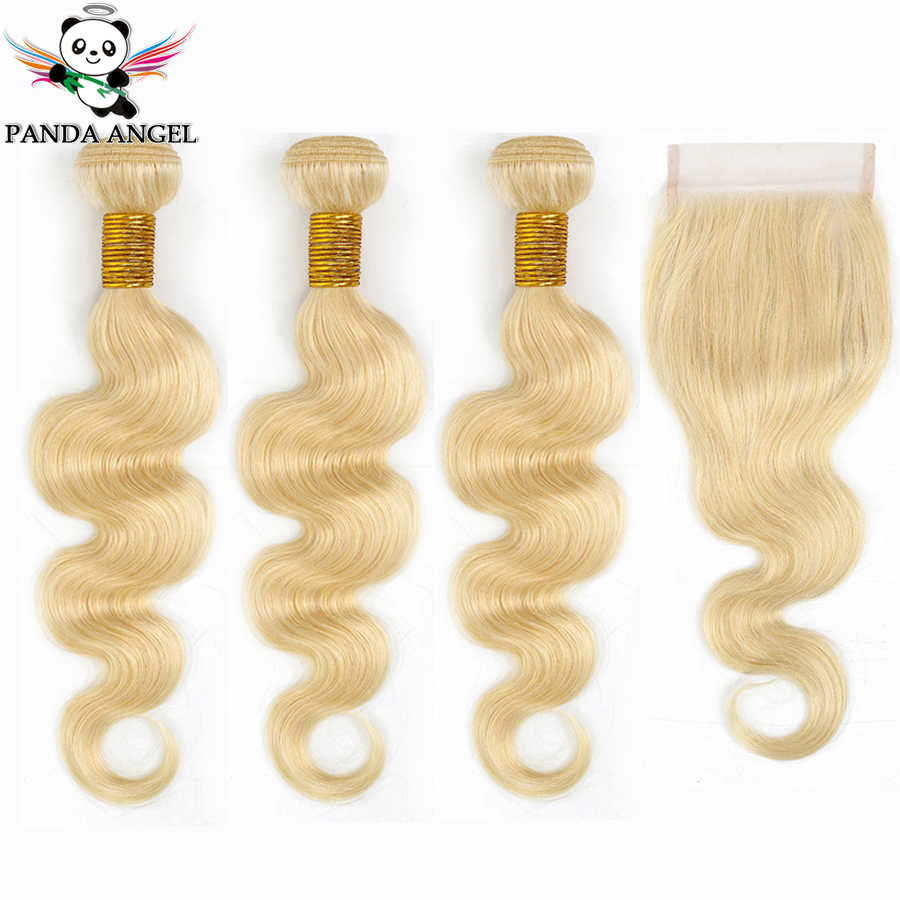 Panda 613 Blonde Bundles With Closure Brazilian Body Wave Remy Human Hair Weave Bundles 613 Honey Blonde Bundles With Closure