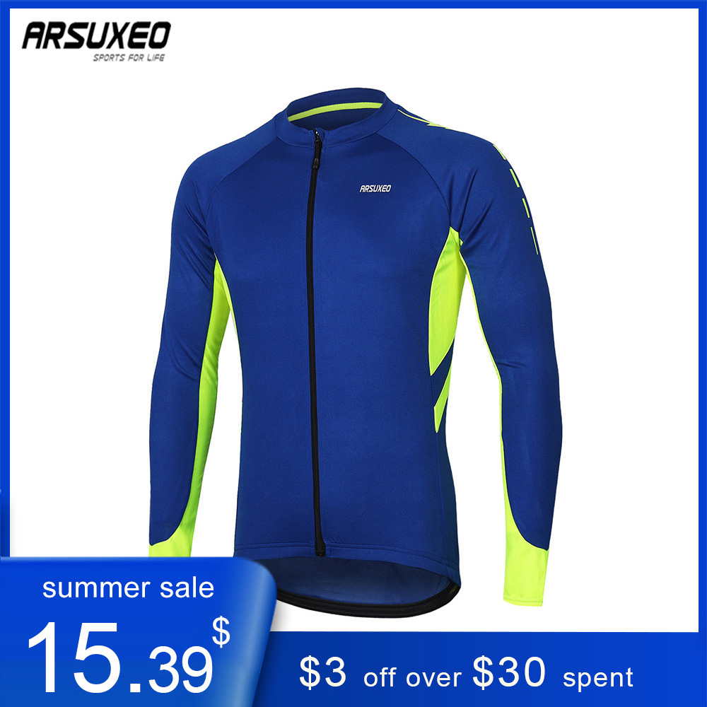 ARSUXEO Men's Long Sleeve Cycling Jersey Quick Dry Bicycle Shirts  Mountain Bike Jersey MTB Clothing Pockets Spring Autumn 6030