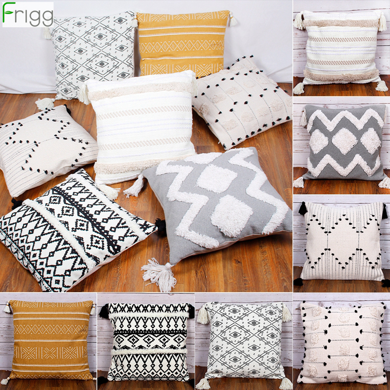 45x45cm White Black Geometric Cushion Cover Moroccan Style Pillow Cover Woven for Home decorations Sofa Bed Bohemia Pillow Case