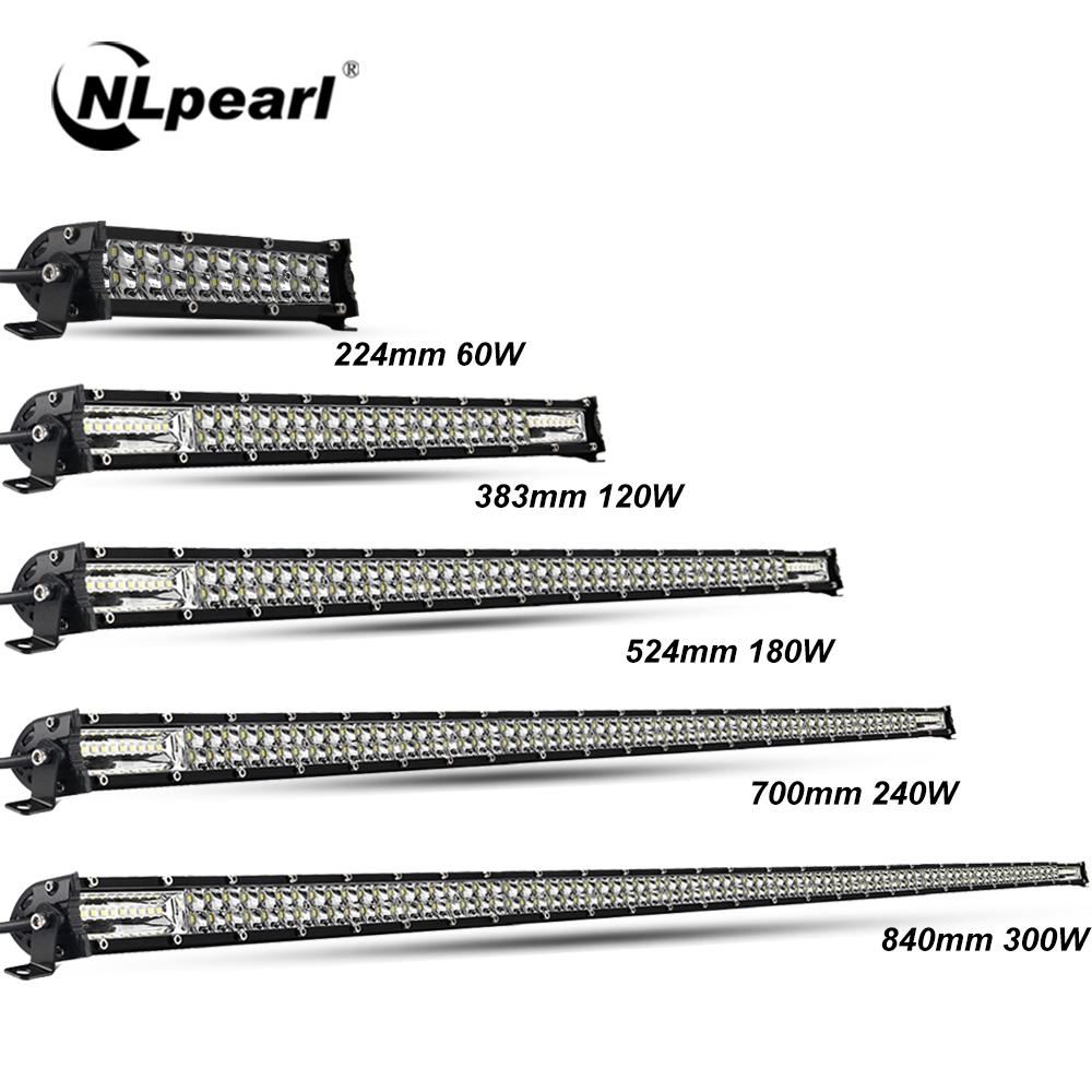 Nlpearl Ultra-Slim 60W 120W 180W 240W LED Bar for Tractor 4X4 UAZ Offroad 4WD ATV Truck