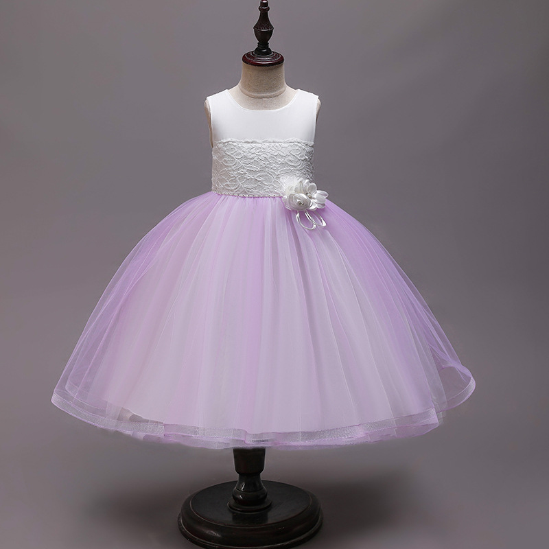 2019 New Style Girls' Princess Skirt Lace Dress Gradient Color Costume CHILDREN'S DAY Performance CHILDREN'S Dress