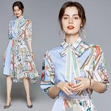 korean dress Women 2021 summer Dress new asymmetric stitching printing tie set