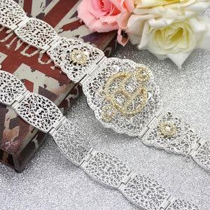 Image 5 - Sunspicems Zilver Kleur R Metalen Taille Ketting Riem Voor Vrouwen Marokko Caftan Riem Europa Bruiloft Banket Body Sieraden Bruids Gift