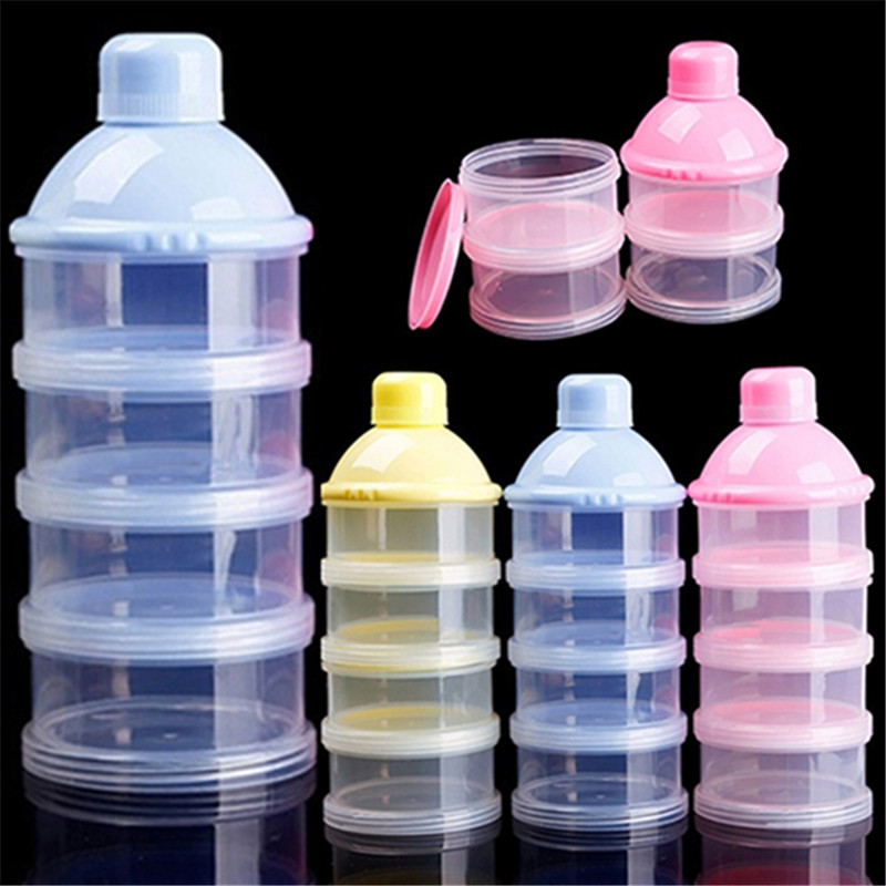 Travel Kids Baby Feeding 4 Layers Milk Powder Dispenser Bottle Storage Container Toddler Portable Formula Dispenser Box