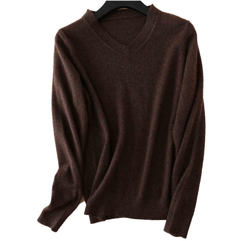100% Merino Wool Women V-Neck Sweater 2020 Autumn Winter Warm Soft knitted Pullover Femme Jumper Women Cashmere Sweater 10