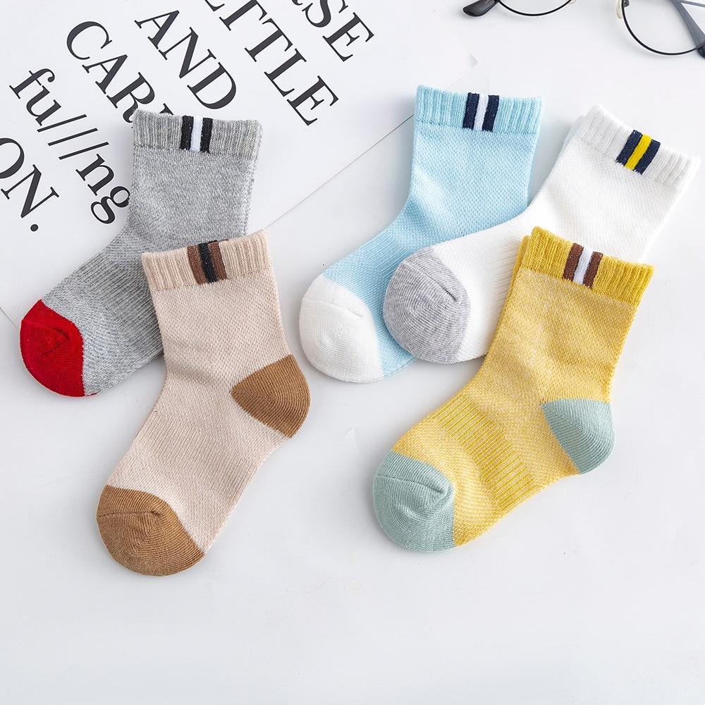 5Pairs/lot 2-9Y Baby Socks Summer Cotton Color Patchwork Kids Socks Colorful Girls Mesh Cute Newborn Boys Toddler Socks Baby 2
