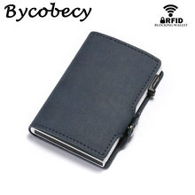 Bycobecy Anti Rfid Credit Card Holder Case Men Slide Leather Id Card Holder Bank Aluminium Metal Wallet Creditcard Bag Popwallet(China)