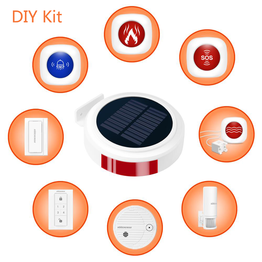 GSM Solar <font><b>Alarm</b></font> <font><b>Wireless</b></font> Home GSM Security <font><b>Alarm</b></font> <font><b>System</b></font> DIY Kit With Auto Dial Motion Detector Sensor <font><b>Burglar</b></font> <font><b>Alarm</b></font> <font><b>System</b></font> image