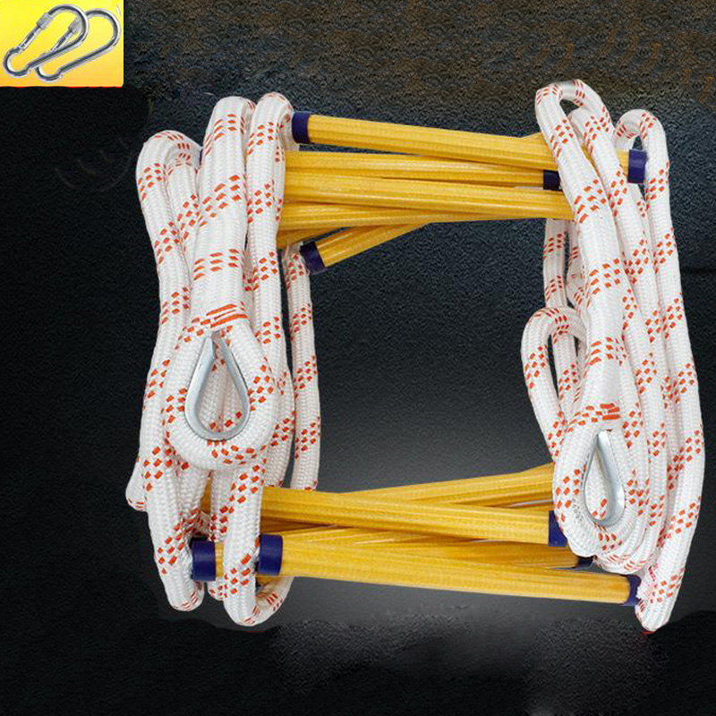 10M Fire Safety Rope Self-rescue Downhill Household Escape Rope Climbing Insurance Safety Rope Wire Core Fire Double Hook DFS079
