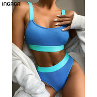 INGAGA High Waist Bikinis 2021 Swimsuits Bandeau Swimwear Women Splicing Biquini Beachwear Sports Ribbed Bathing Suits New 1