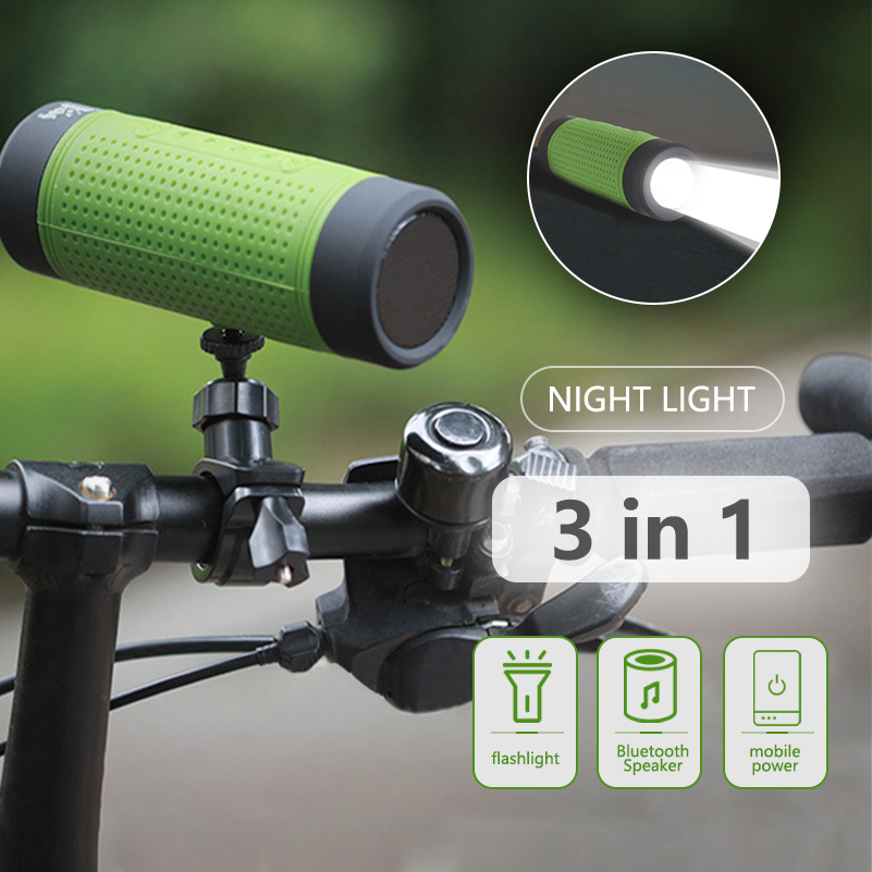 Outdoor Wireless Bluetooth <font><b>Speaker</b></font> FM radio For Bicycle Waterproof Portable Wireless <font><b>Speaker</b></font> +Power Bank +Flashlight+<font><b>Bike</b></font> <font><b>Mount</b></font> image