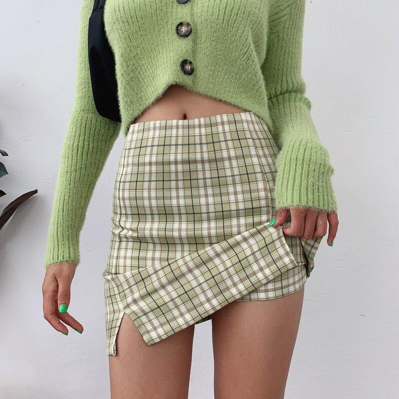 Women Split Details Plaid Mini Skirt with Under Shorts Mini Skort In Check 2
