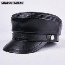 SHALUOTAOTAO Genuine Leather Hat For Men Quality Fashion Sheepskin Military Hats Autumn Winter Thermal Leisure Motion Flat Cap цена