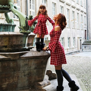 plaid lotus sleeve mother daughter matching dresses mommy and me clothes mom mum and baby dress clothing women girls outfits
