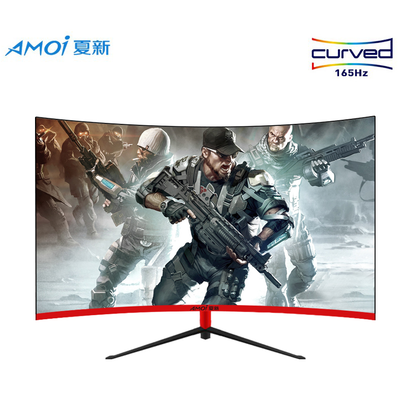 Amoi 27 inch LED Monitor Gaming 165HZ PC 1MS Respons 1080P 27 LCD Monitors Curved Display Full HD input Widescreen HDMI/VGA image